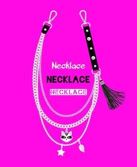 Chains necklace with raccoon pendant isolated on pink