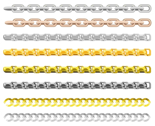 Цепи из разных металлов. золотые и серебряные цепочки элементы, золотые украшения бесконечные предметы для ожерелья и цепочки на белом фоне. цепные границы.