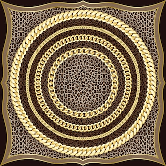Chains seamless pattern on leopard background fashion gold and animal print with jewelry