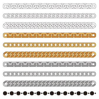 Chains simple set: gold, silver, metal and outline. fashion design element isolated on white