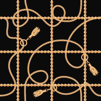 Chains with tassels seamless pattern on black background.