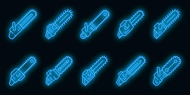 Chainsaw icons set. outline set of chainsaw vector icons neon color on black