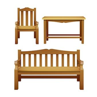 椅子、ベンチ、テーブル、屋外用木製家具一式。庭、カフェ、中庭の装飾用の装飾家具