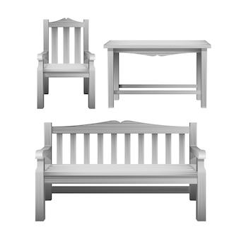 椅子、ベンチ、テーブル、白の屋外の木製家具のセット。庭、カフェ、中庭の装飾用の装飾家具