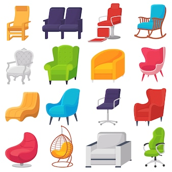 Chair comfortable furniture armchair and modern seat design in furnished apartment interior illustration set of business office-chair or easy-chair isolated on white background