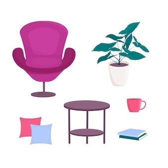 白い背景、ベクトル、漫画のスタイルで隔離枕とテーブルと椅子の家具アームチェア。鉢植えの緑の葉の植物。居心地の良い家のためのインテリアアイテム。
