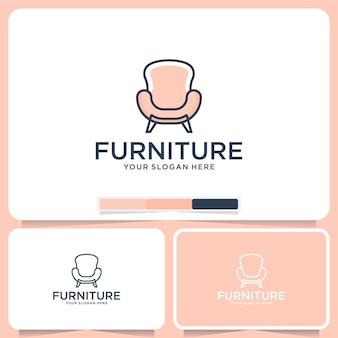 Chair furniture interior exterior logo design Premium Vector