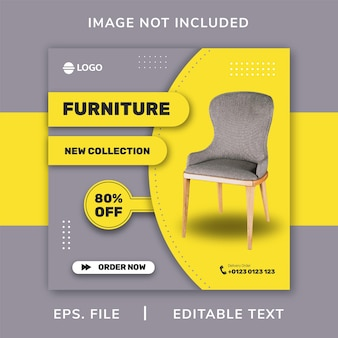 Chair furniture social media promotion and instagram banner post design template