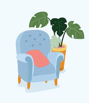 Chair icon set chairs with different colors are soft colorful with wooden legs  illustration