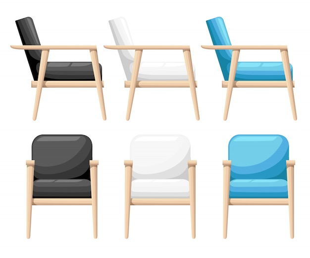 Chair realistic icon set four identical chairs with different colors are soft colorful with wooden legs illustration