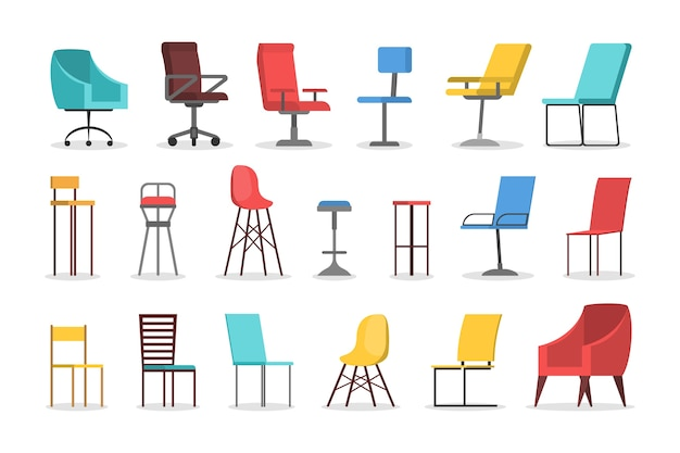 Chair set. collection of comfortable furniture, modern seat