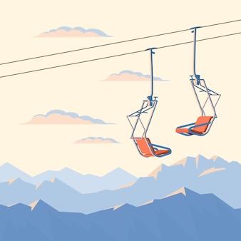 산악 스키어와 스노우 보더를위한 의자 스키 리프트는 밧줄로 공중에서 움직입니다.