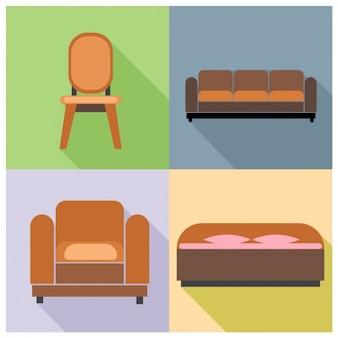 A chair, a sofa, an armchair and a bed