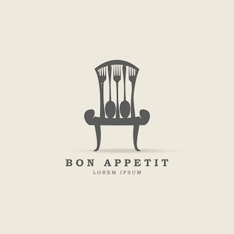 Chair with spoon and fork logo