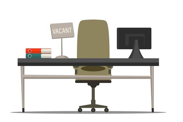 Стул с пустой иллюстрацией знака. подбор сотрудников. трудоустройство, вакансия и работа по найму. кадровое агентство для бизнеса. офисное эргономичное рабочее место со столом и креслом