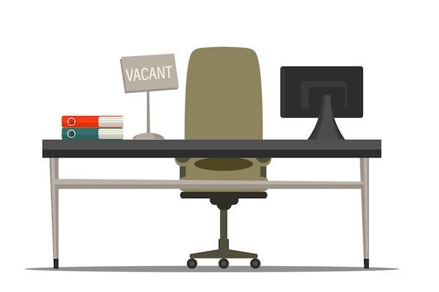 Chair with vacant sign   illustration. employee recruiting. employment, vacancy and hiring job. business recruitment agency. office ergonomic workplace with desk and armchair