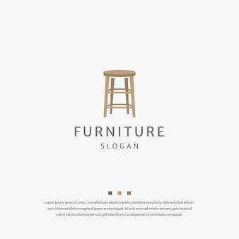 Chair wood furniture logo icon design template flat vector