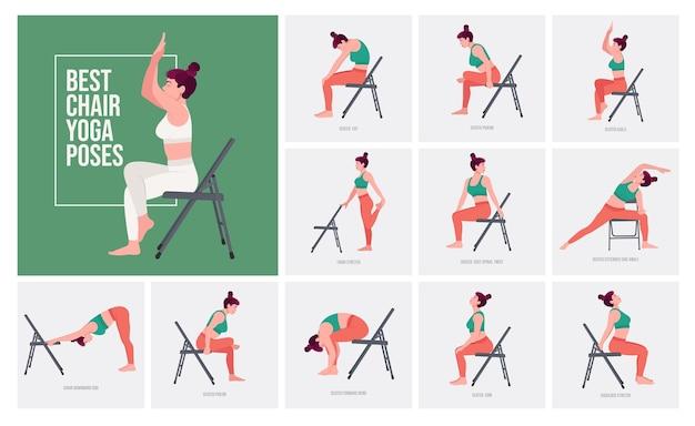 椅子のヨガのポーズヨガのポーズを練習している若い女性