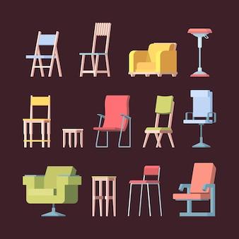 의자 컬렉션입니다. 현대적인 스타일의 벡터 그림을 위한 전면 보기 우아한 가구입니다. 일러스트레이션 가구 의자, 가정 및 사무실용 안락의자