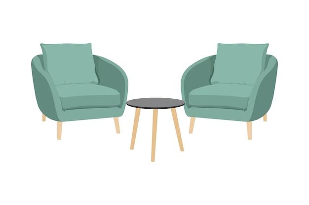 Chairs and tables, pouf design chair furniture vector isolated on white background. vector design in flat style