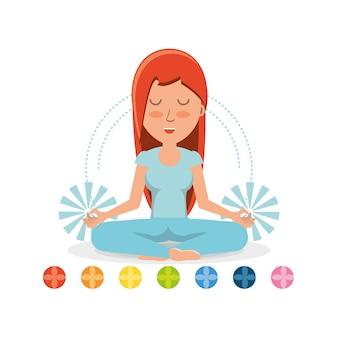 Chakras and cartoon woman practicing  yoga