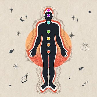 Chakras concept illustration with body