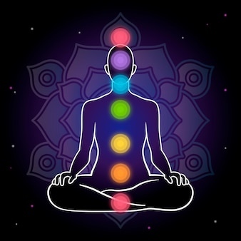 Chakras concept with dark background
