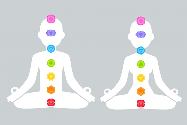 Chakras on male and female body silhouettes