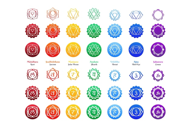 Chakras set illustration theme
