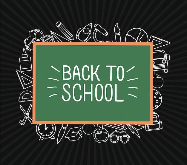 Значок мелка установлен вокруг дизайна зеленой доски, тема урока обратно в школу