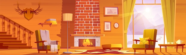 Chalet house interior with fireplace and mountains behind window  cartoon illustration of traditional lodge mountain cottage living room with chairs and horns on wall