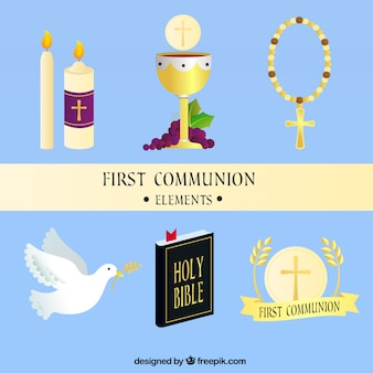 chalice and other elements of first communion