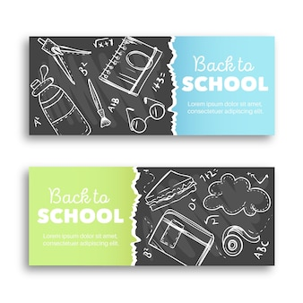Chalk on blackboard back to school banners