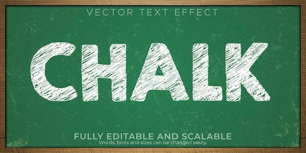 Эффект текста на доске мелом, редактируемый белый и гранж-стиль текста