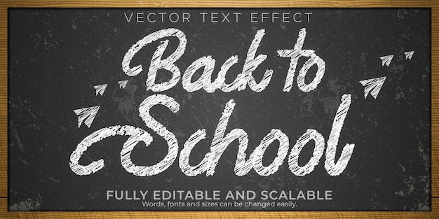 Chalk blackboard text effect, editable white and grunge text style