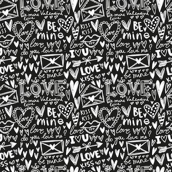 Chalk board hand painted seamless pattern with love illustrations.
