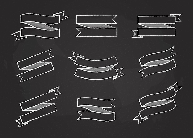 Chalk contour ribbon banner vector set illustration big collection of different shapes white chalk