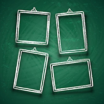 Chalk cute photo frames. abstract picture frame borders on green board vector set