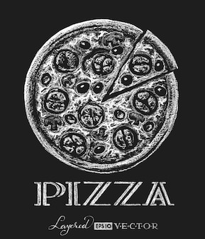 Мел рисования пиццы иллюстрации