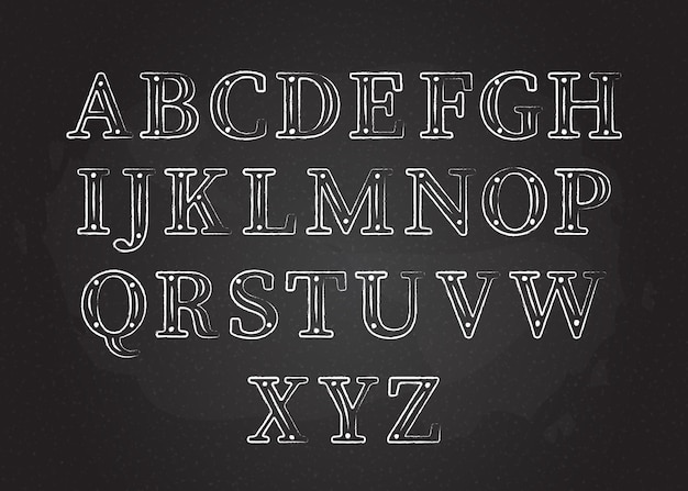 Chalk font abc collection vector illustration white contour chalk style uppercase letters with dots