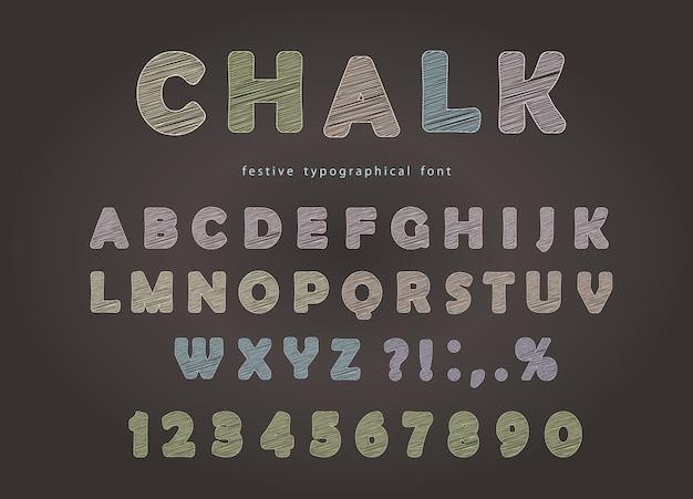칠판에 분필 글꼴 디자인.