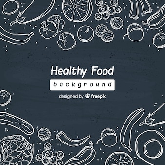 Chalk fresh food background