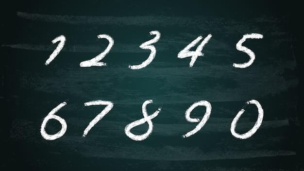 Chalk hand drawn alphabet numbers set on dark
