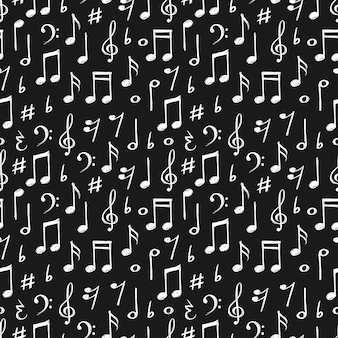 Chalk music notes and signs seamless pattern.
