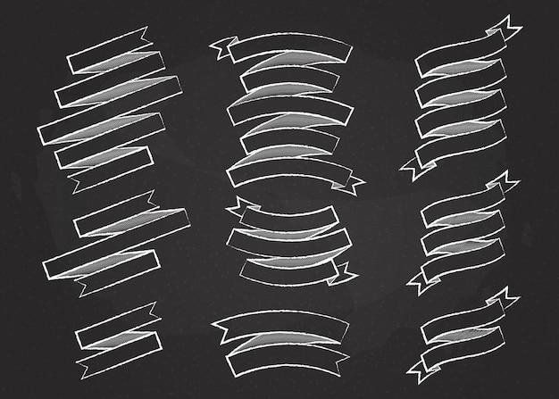 Chalk outline ribbon banner vector set illustration vintage design white chalk style ribbon labels