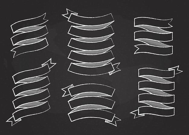 Chalk outline ribbon banner vector set illustration white chalk style curved shape ribbons scroll