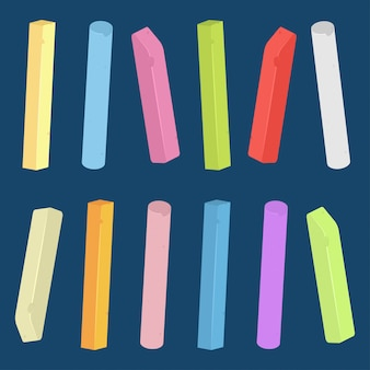 Chalk piece and stick of different colors vector set isolated.
