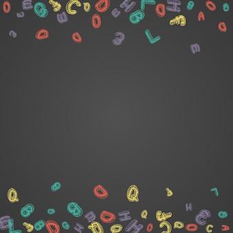 분필 학교 보드 벡터 검은 배경. 글꼴 쓰기 프레임입니다. 그래픽 abc 칠판 아트. 스타일 스케치.