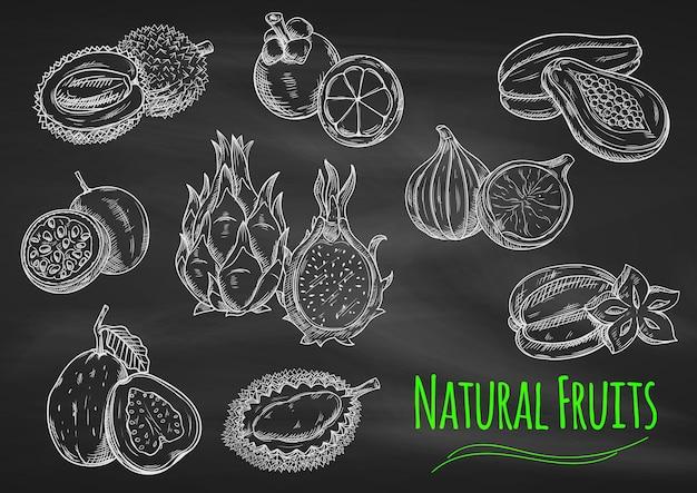 Мел-эскизы экзотических фруктов на доске