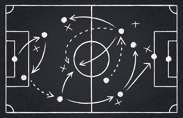 Chalk soccer strategy. football team strategy and play tactic, soccer cup championship chalkboard game formation  illustration set. blackboard and chalkboard, soccer team strategy